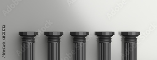 Fotografie, Obraz Five black pillars against silver wall background