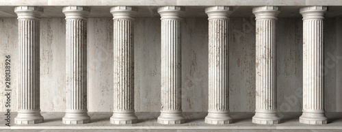 Fotografija Classical building facade, stone marble columns. 3d illustration