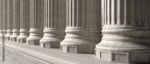Fotografiet Classical building facade, stone marble columns. 3d illustration