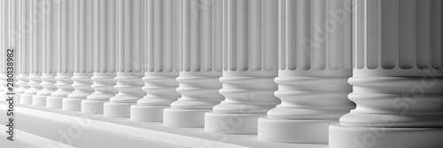 Classical pillars white color marble. 3d illustration Fototapeta