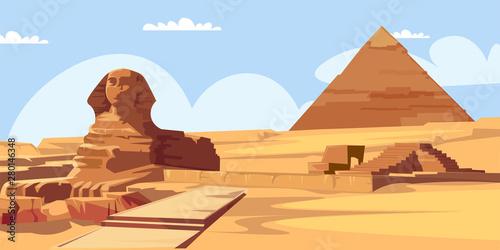 Fotografie, Obraz Sphinx and pyramid flat vector illustration