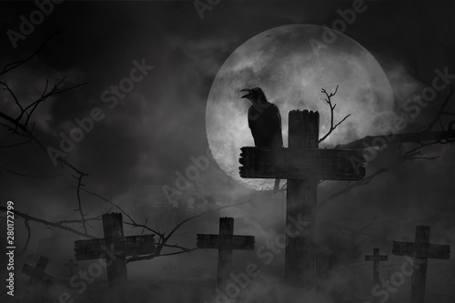 Scary background the black crow perched on cemetery cross in fog dark and light Fototapeta