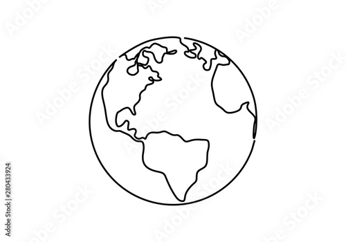 Canvas Print One line style world earth globe continuous design