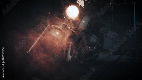 Fényképezés headlamp chopper in biker garage