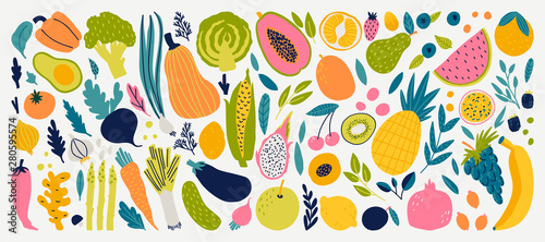 Vector colorful food set for your design. Cute doodle illustration with vegetables and fruits isolated on white background.
