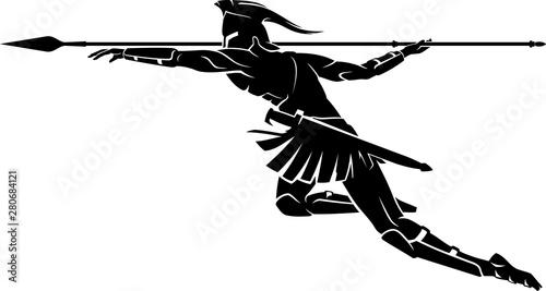 Fotografia Spartan Spear Throw Attack