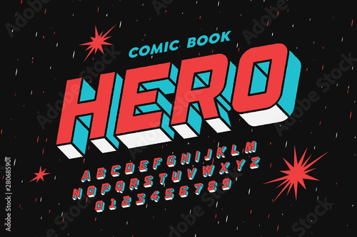 Comic book style font design, alphabet letters and numbers Fototapeta