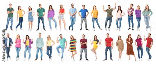 Fotografia Collage of emotional people on white background. Banner design
