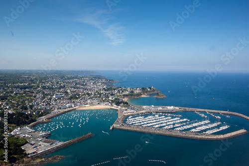 Obraz na płótnie Aerial view of ISaint quay portrieux in Brittany, France