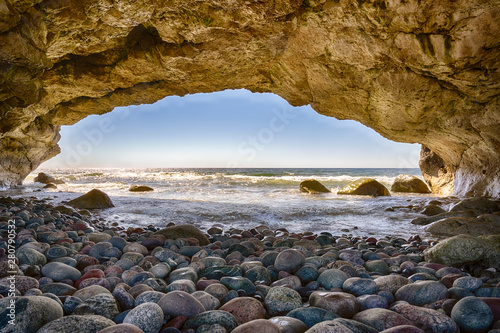 Canvas Print Natural stone arches along the ocean in Arches Provincial Park in Newfoundland,