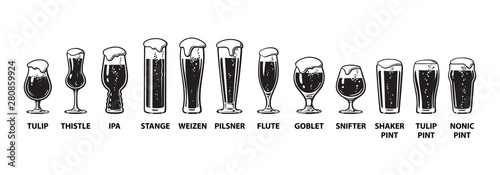 Photographie Beer glassware guide