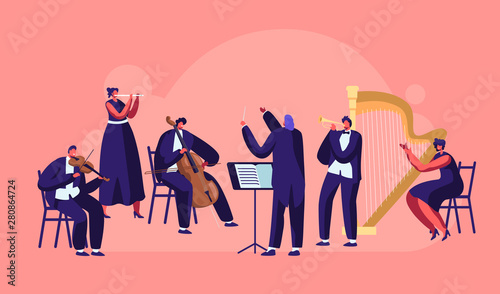 Fotografia Symphony Orchestra Playing Classical Music Concert, Conductor and Musicians with Instruments Performing on Stage with Violin, Flute, Cello, Trumpet, Harp Performance