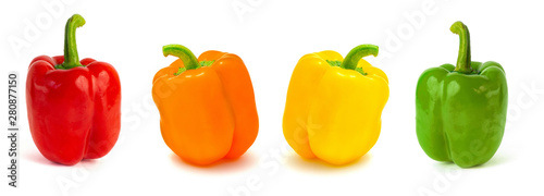 Stampa su Tela set of colored bell peppers isolated on white background