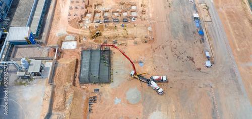 Obraz na plátně Construction site shot from above