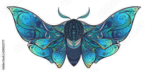 Fotografia Abstract mystical Moth in psychedelic design