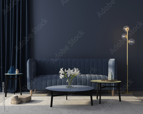 Interior of the living room in monochrome blue. 3d render