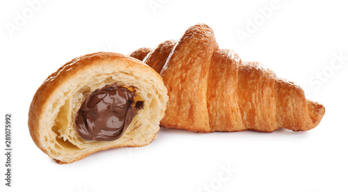 Fotografía Fresh croissants with chocolate stuffing on white background
