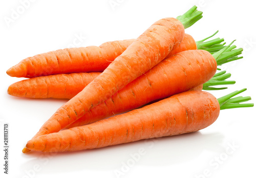 Wallpaper Mural Fresh carrots isolated on white background