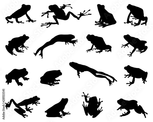 Black silhouettes of frogs on a white background Fototapet