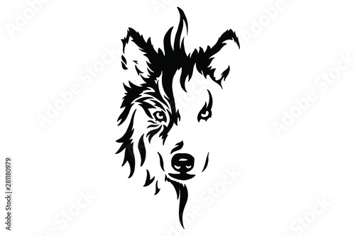 Head of a wolf. Styling the head for your design. Vector illustration, isolated objects.