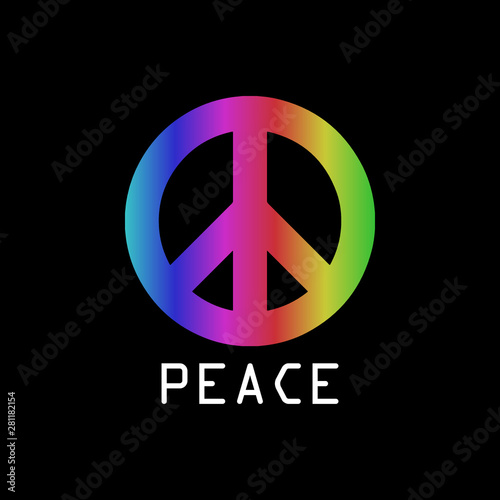 Canvas Print Rainbow symbol of pacifism, against racism, homophobia and war