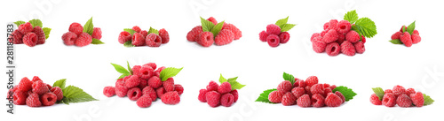 Set of fresh sweet raspberries on white background. Banner design