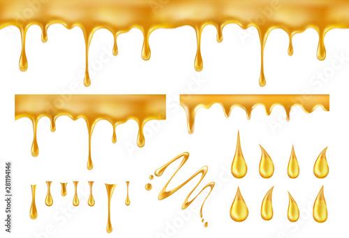 Dripping honey. Golden yellow splashes vector illustration Fototapeta