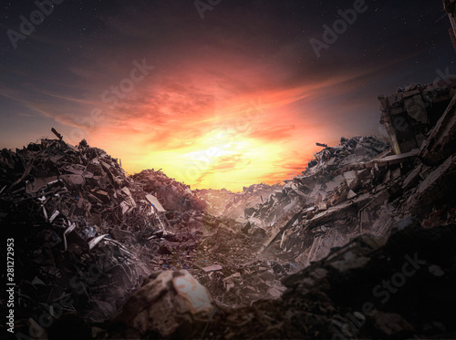 Fotografie, Obraz Apocalypse rubble at sunset - Illustration