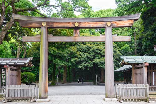 Fototapeta Portal of wood gate temple, Torii of Meiji Jingu Shrine in Central Tokyo (Shibuya), Japan