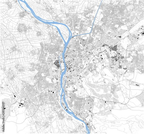 Fotografie, Obraz Satellite map of Cairo, it is the capital of Egypt, associated with ancient Egypt, as the famous Giza pyramid complex