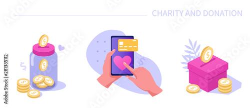 Billede på lærred charity and donation icons