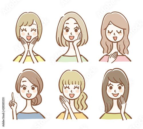 手描きの女性アイコンセット Fototapet