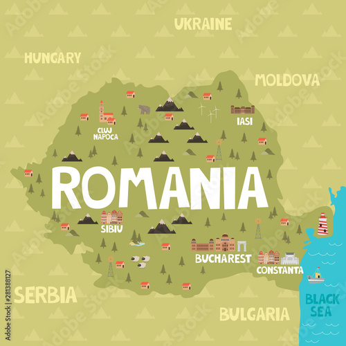 Canvas Print Illustration map of Romania with city, landmarks and nature