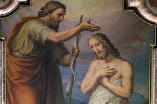 Baptism of the Lord, altarpiece in the Saint John the Baptist church in Zagreb, Fototapet