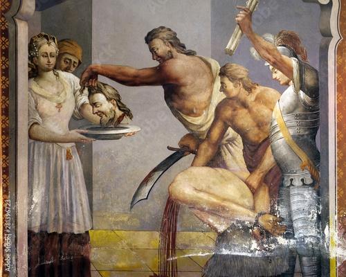 Beheading of St John the Baptist, fresco on the ceiling of the Saint John the Ba Fototapeta