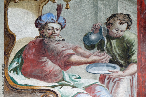 Fototapeta Jesus condemned to death, Pontius Pilate washed his hands, fresco on the ceiling
