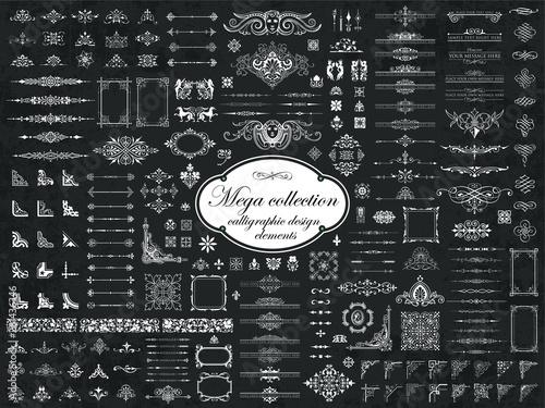 Fotografie, Obraz Mega collection of vector calligraphic design elements on chalkboard background