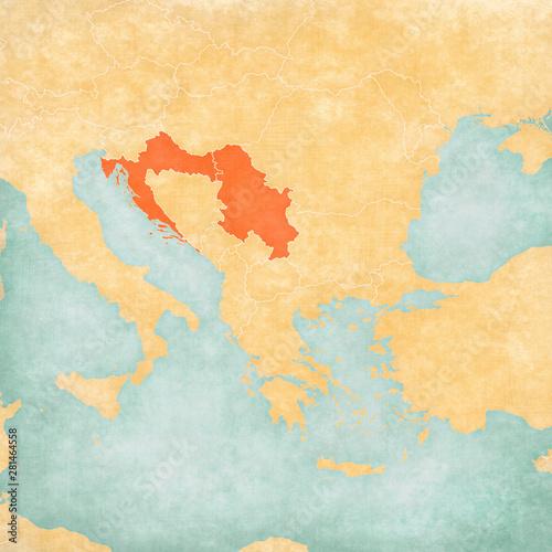 Photo Map of Balkans - Croatia and Serbia
