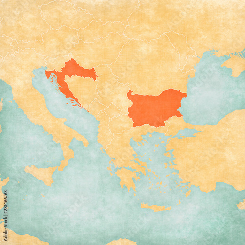 Canvas Print Map of Balkans - Bulgaria and Croatia