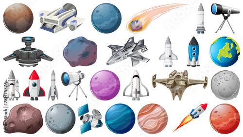 Obraz na płótnie Set of planets, rockets and space obejcts
