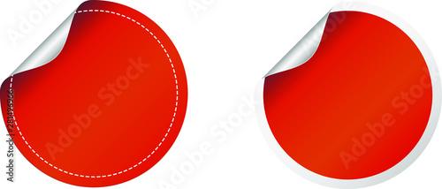 Red round sticker label fold over