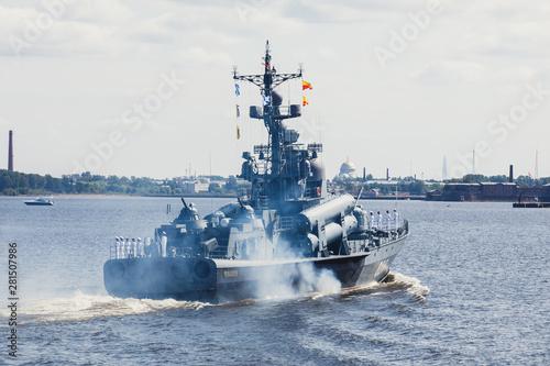 Murais de parede A line ahead of modern russian military naval battleships warships in the row, n