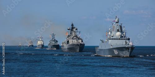 Obraz na płótnie A line ahead of modern russian military naval battleships warships in the row, n
