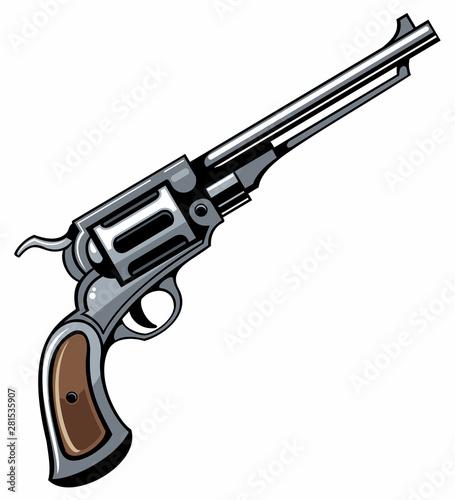 Fototapeta Vector detailed old revolver gun, isolated on white background