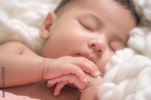 Obraz na płótnie portrait of cute asian infant baby boy sleeping