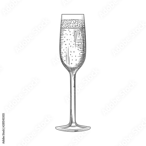 Canvas Print Hand drawn full champagne glass sketch. Sparkling wine glass.