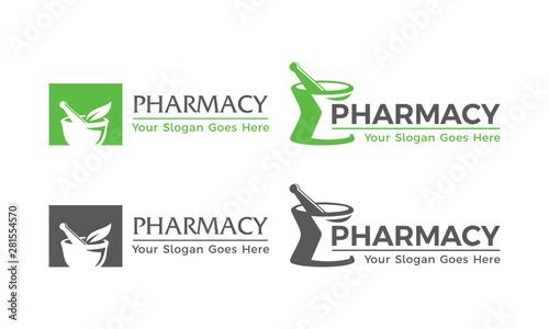 Obraz na płótnie Pharmacy Logo, Mortar and pestle Logo