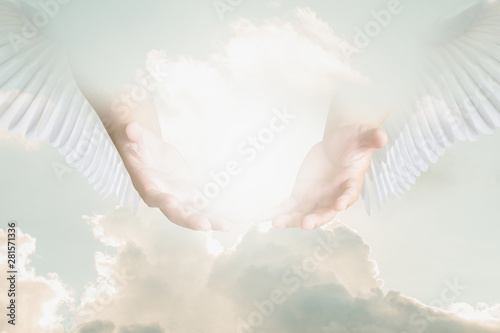 The hand opened up from heaven To welcome prayer to God background Style Double Fotobehang