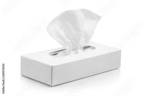 Fotografia White tissue box, isolated on white background