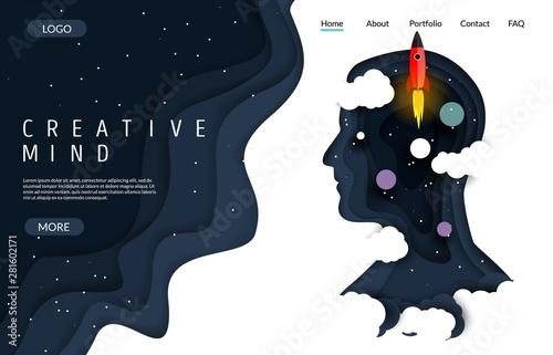 Fototapeta Creative mind vector website landing page design template